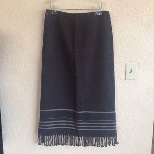 Nine & company Tassel long skirt gray stripe Euc